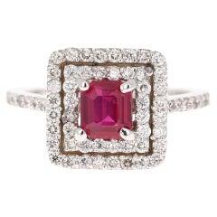 GIA Certified Ruby Diamond 18 Karat White Gold Engagement Ring