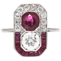 GIA Certified Ruby Diamond Authentic Art Deco Two-Stone Ring