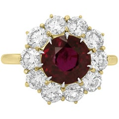 GIA Certified Ruby Round 3.90 Carat Diamond Halo Ring Gold Platinum Ring