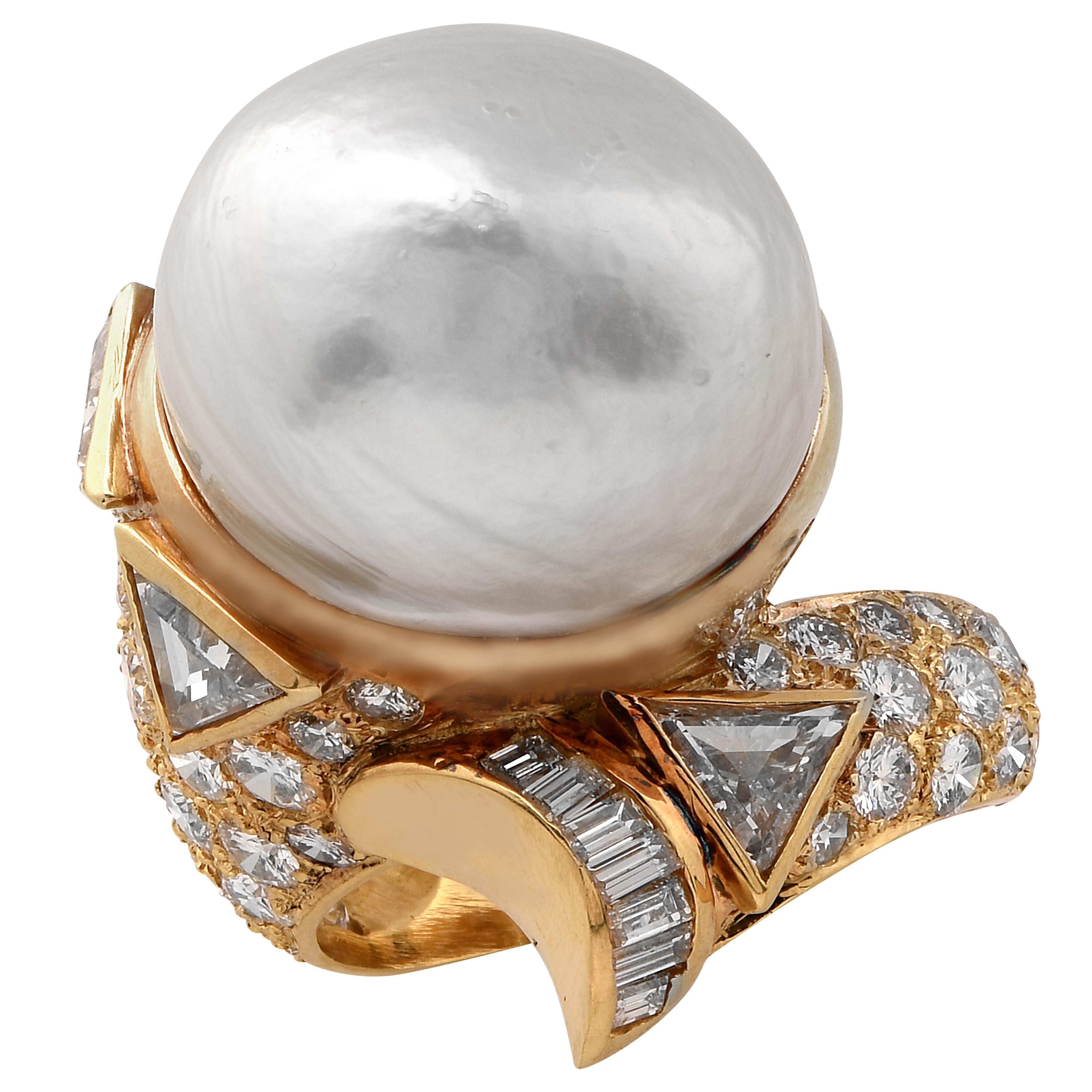 GIA Certified Saltwater Pearl and Diamond Ring