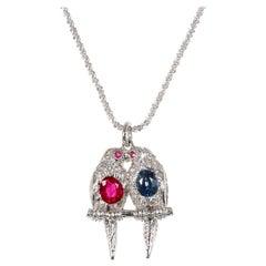 GIA Certified Sapphire Diamond Ruby Platinum Love Bird Pendant Necklace