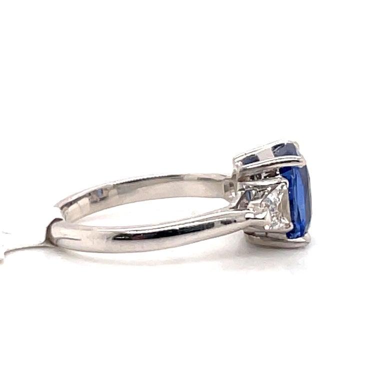 Radiant Cut GIA Certified Sapphire Diamond Three-Stone Ring 18 Karat White Gold No Heat For Sale