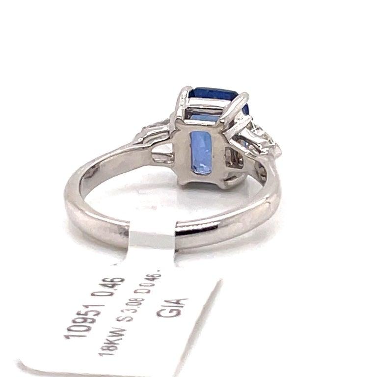 Women's or Men's GIA Certified Sapphire Diamond Three-Stone Ring 18 Karat White Gold No Heat For Sale