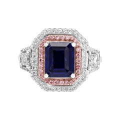 GIA Certified Sapphire Emerald Cut Diamond Halo Three Stone Two Color Gold Ring