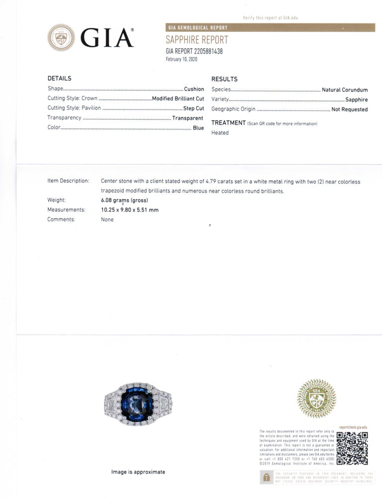 GIA Certified Sapphire White Diamond Ring 18k  Wt. Gold For Sale 2