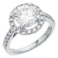 GIA Certified Single Stone Round Diamond 2.05 Carat F, VVS2 Engagement Ring