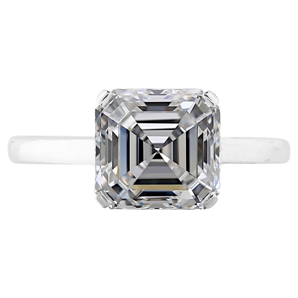 GIA Certified Solitaire 3 Carat VS Square Emerald Cut Engagement Ring
