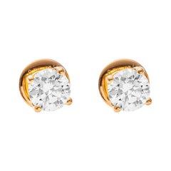 GIA Certified Solitaire Diamond Eartops in 18 Karat Yellow Gold