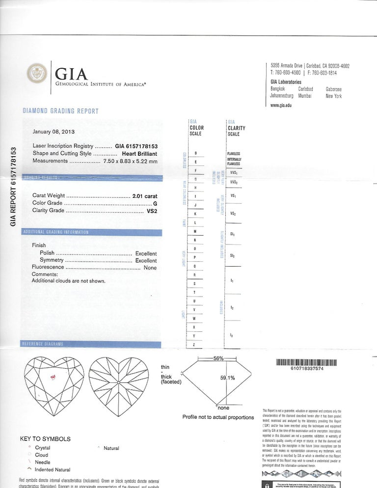 GIA Certified Diamond 4.02ct Solitaire Single Stone Heart Earrings Valentines 7