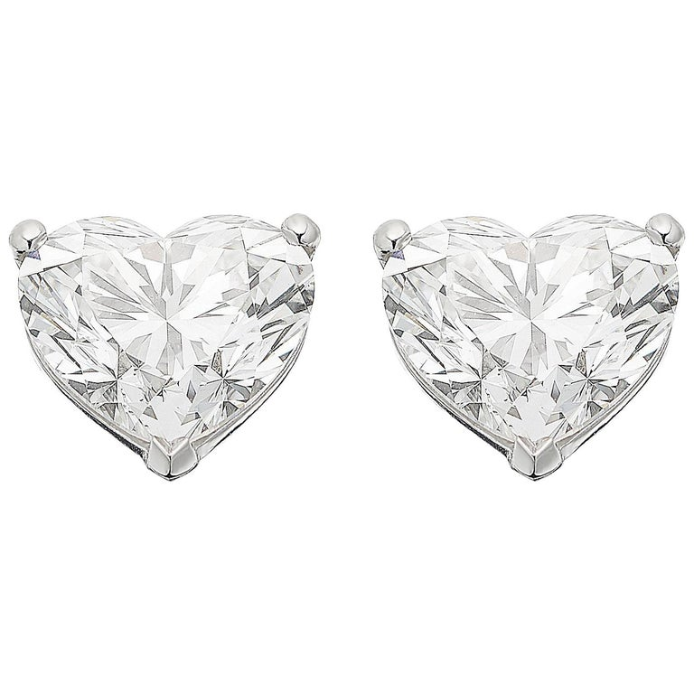 GIA Certified Diamond 4.02ct Solitaire Single Stone Heart Earrings Valentines 1