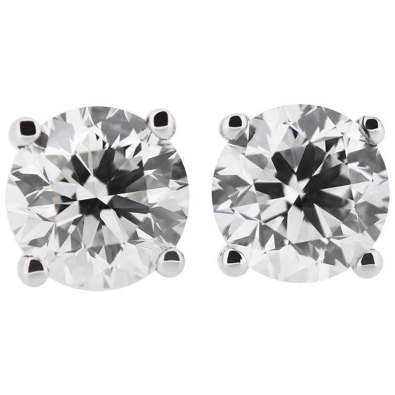 GIA Certified Round Diamond 4.04ct F VS2 Single Stone/Solitaire Stud Earrings  For Sale