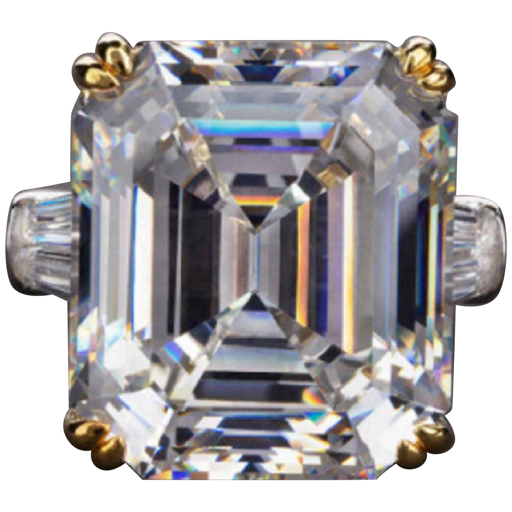 GIA Certified Square Emerald Cut Diamond 5.75 Carat Platinum Ring