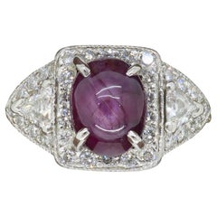 GIA Certified Star Ruby and Diamond Ring Made in Platinum