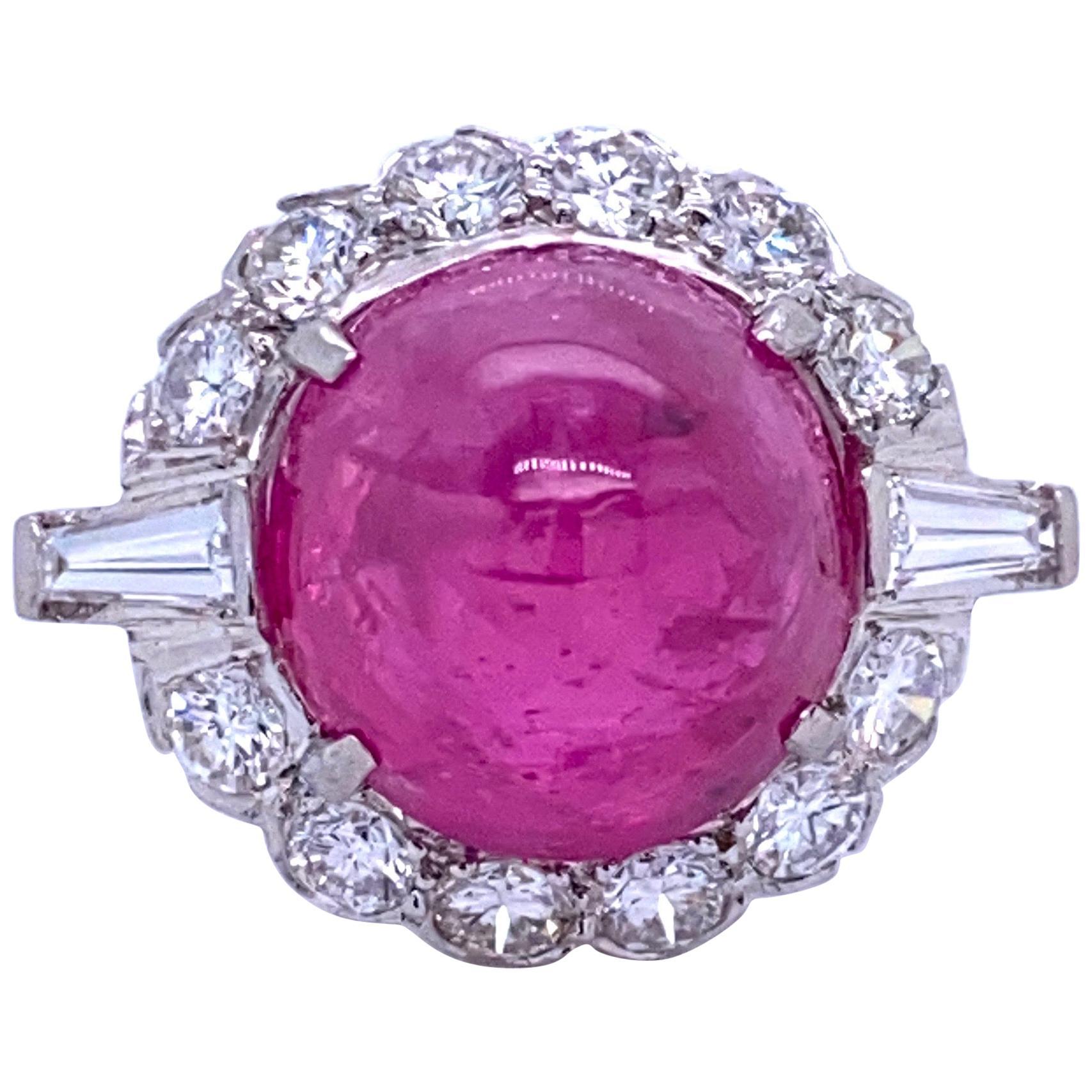 GIA Certified Sugar Loaf Ruby No Heat Diamond Ring Platinum 11.92 Carat