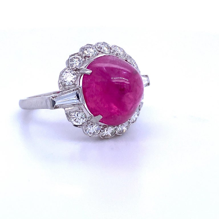 Contemporary GIA Certified Sugar Loaf Ruby No Heat Diamond Ring Platinum 11.92 Carat For Sale