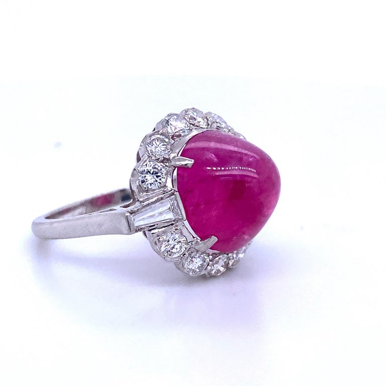 Round Cut GIA Certified Sugar Loaf Ruby No Heat Diamond Ring Platinum 11.92 Carat For Sale