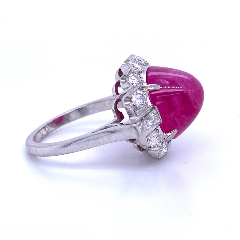 Women's or Men's GIA Certified Sugar Loaf Ruby No Heat Diamond Ring Platinum 11.92 Carat For Sale
