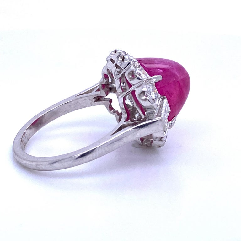 GIA Certified Sugar Loaf Ruby No Heat Diamond Ring Platinum 11.92 Carat For Sale 1