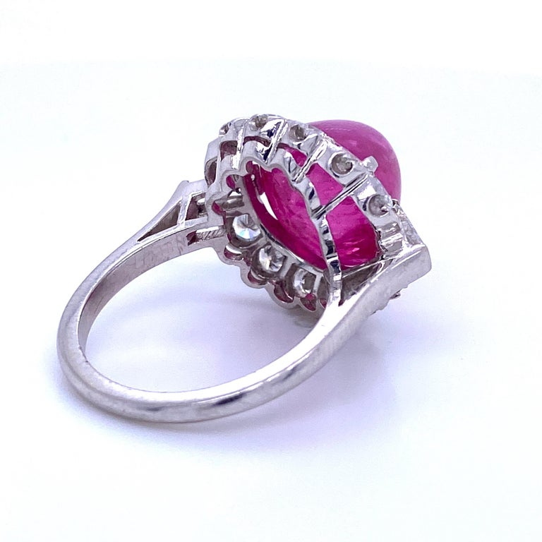 GIA Certified Sugar Loaf Ruby No Heat Diamond Ring Platinum 11.92 Carat For Sale 2