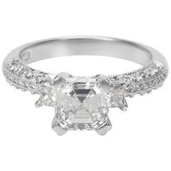 GIA Certified Tacori Diamond Engagement Ring in Platinum 1.93 Carat F VS1