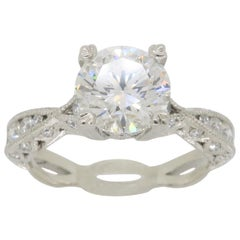 GIA Certified Tacori Platinum Diamond Engagement Ring