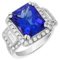 GIA Certified Tanzanite and Diamond Ring in 18 Karat White Gold