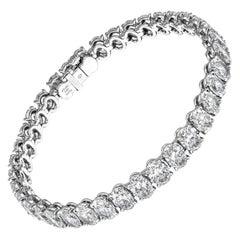 GIA Certified Tennis Bracelet with Oval Diamonds 18.67 Carat