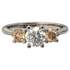 GIA Certified Three Round Brilliant Cut Diamonds Engagement Ring in Platinum