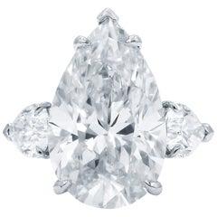 INTERNALLY FLAWLESS GIA Certified Three-Stone 5 Carat Pear Cut Diamond Ring