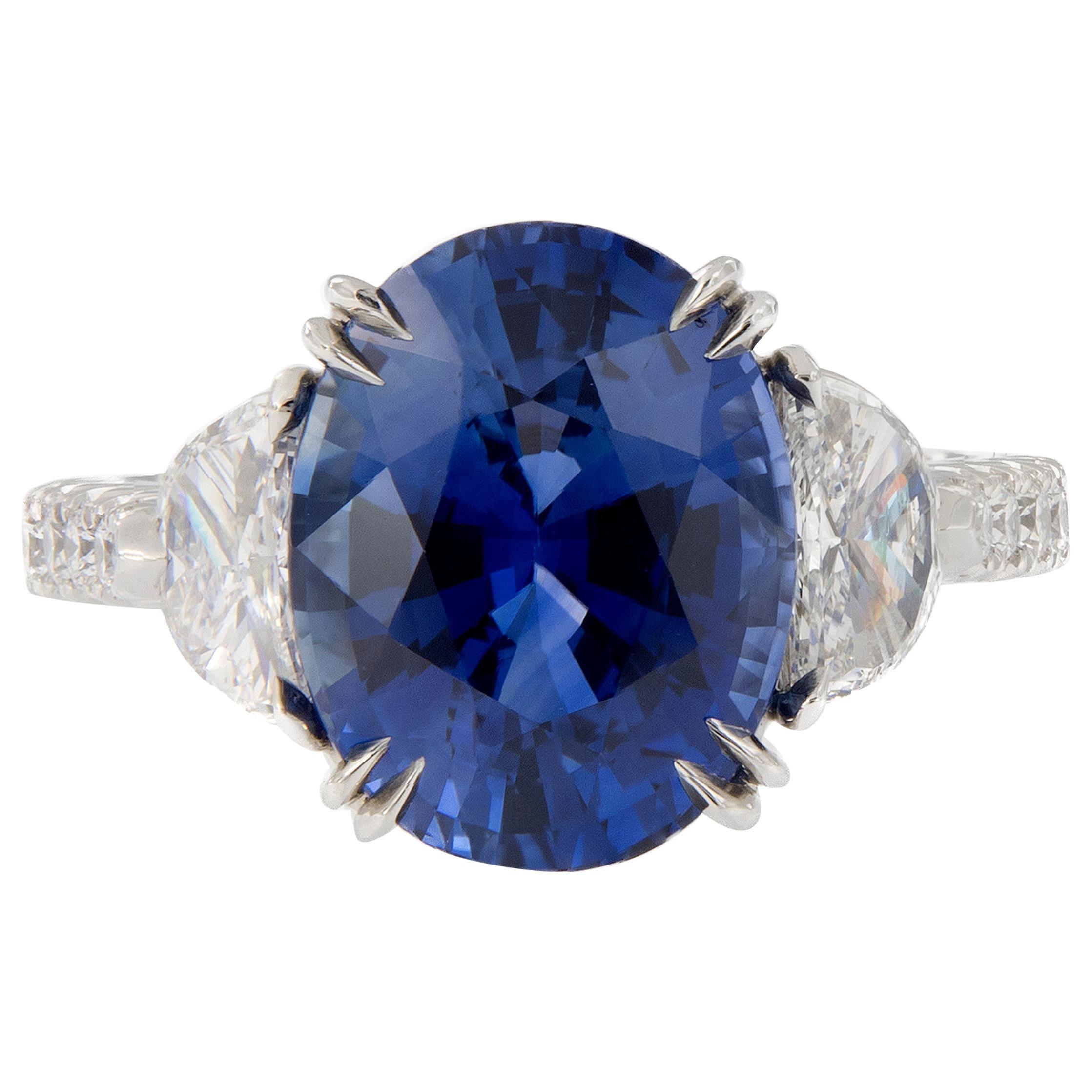 GIA Certified Three-Stone Blue Sapphire Diamond Platinum Ring