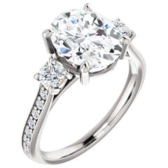 GIA Certified Three-Stone Diamond Accented Oval Shape Wedding Engagement Ring