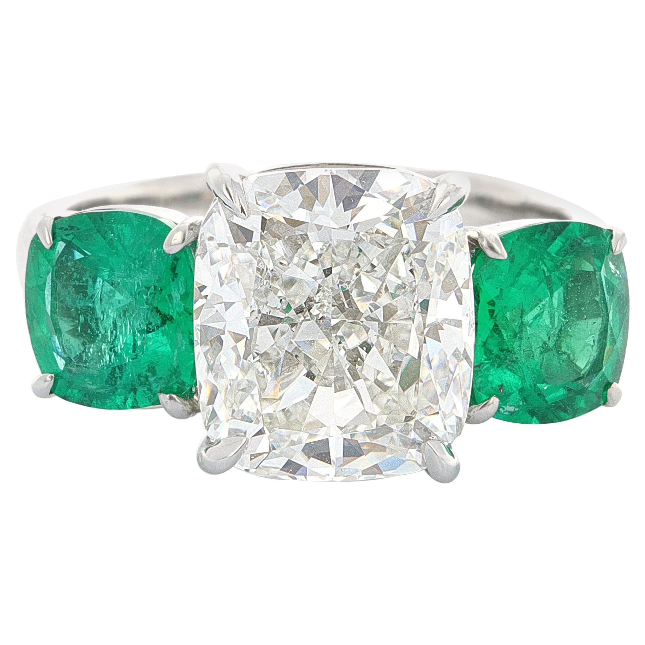 GIA Certified, Three-Stone Diamond and Emerald Ring