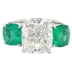 GIA Certified, Three-Stone Diamond and Emerald Ring