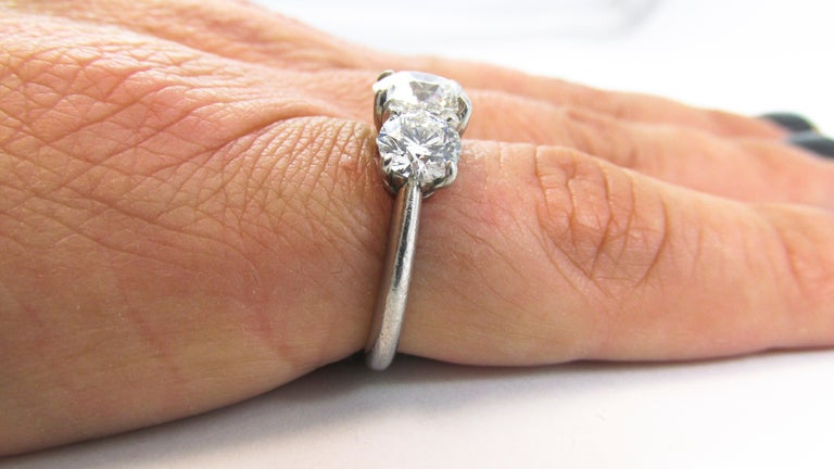 GIA Certified Three-Stone Diamond Platinum Engagement Ring For Sale 1