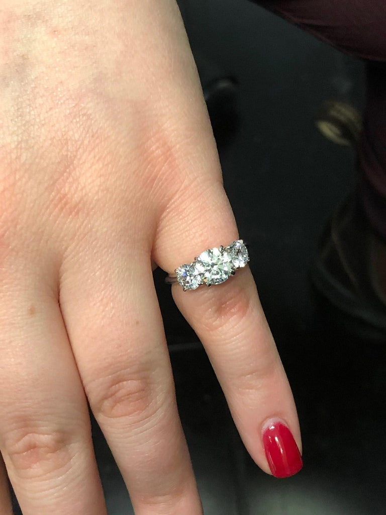 GIA Certified Three-Stone Diamond Platinum Engagement Ring For Sale 2