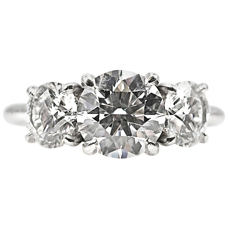 GIA Certified Three-Stone Diamond Platinum Engagement Ring For Sale