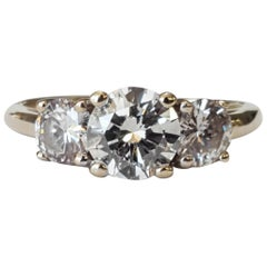 GIA Certified Three-Stone Ring Round Brilliant Cut Diamonds