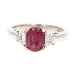 GIA Certified Three-Stone Ruby Diamond 18 Karat White Gold Ring