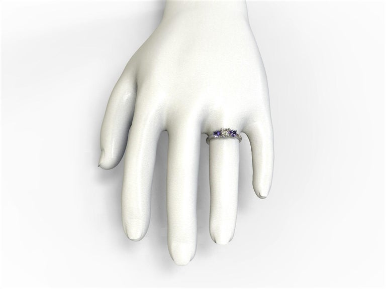Art Deco GIA Certified Three Stones Diamond and Sapphires Engagement Ring 18 Carat Gold For Sale