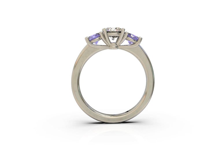 GIA Certified Three Stones Diamond and Sapphires Engagement Ring 18 Carat Gold In New Condition For Sale In South Perth, AU