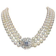 GIA Certified Three-Strand Pearl and Diamond Necklace