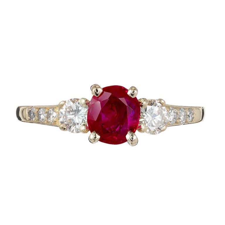 a3500225f91c1 GIA Certified Tiffany & Co Ruby Diamond Gold Three-Stone Engagement Ring