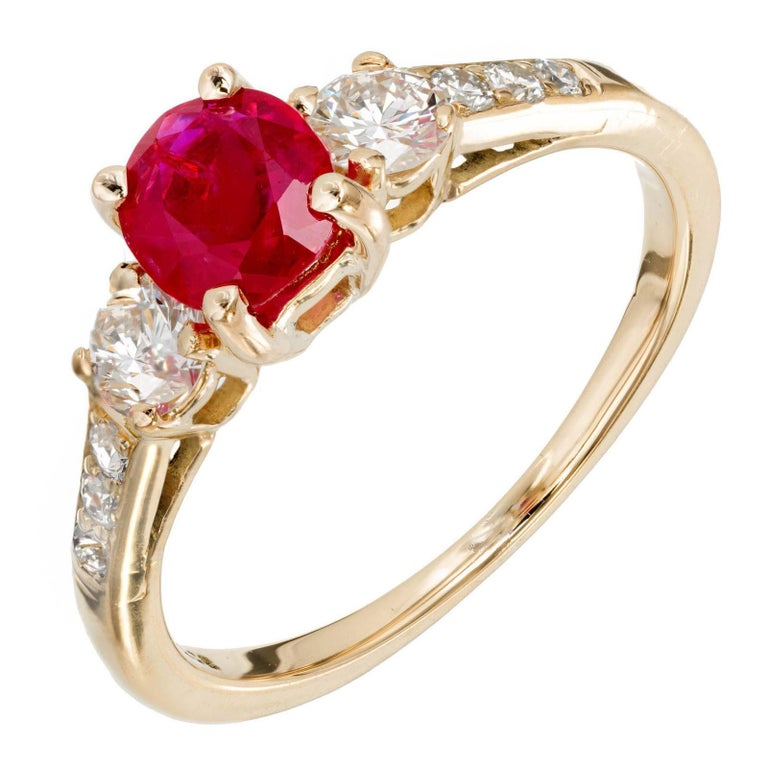 GIA Certified Tiffany & Co Ruby Diamond Gold Three-Stone Engagement Ring