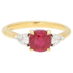 GIA Certified, Tiffany & Co. Burmese Ruby and Diamond Engagement Ring