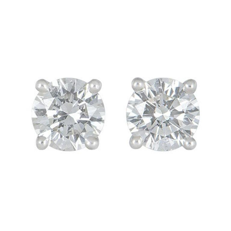 GIA Certified Tiffany & Co. Diamond Platinum Stud Earrings 2.02 Carat Total