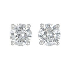 GIA Certified Tiffany & Co. Diamond Platinum Stud Earrings 2.02 Carat Total