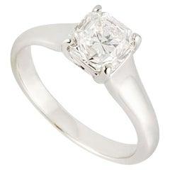 GIA Certified Tiffany & Co. Platinum Diamond Lucida Cut Ring 1.10 Carat