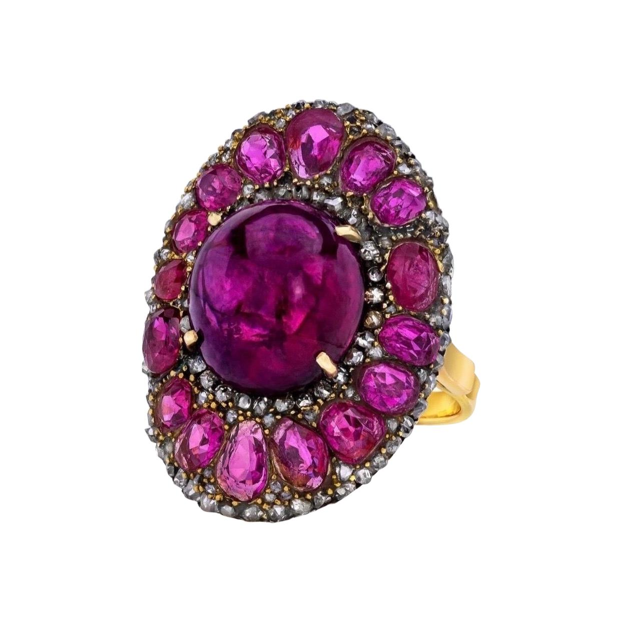 GIA Certified Unheated 15.57 Carat Ruby and 6.25 CTW Unheated Pink Sapphire Ring