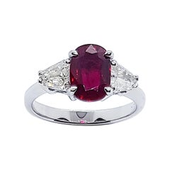 GIA Certified Unheated 1.56 Cts Ruby with Diamond Ring in 18 Karat White Gold