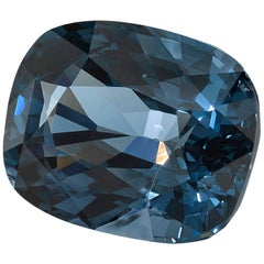 4.90 ct. Blue Spinel Cushion GIA, Unset 3-Stone Engagement Ring or Pendant Gem
